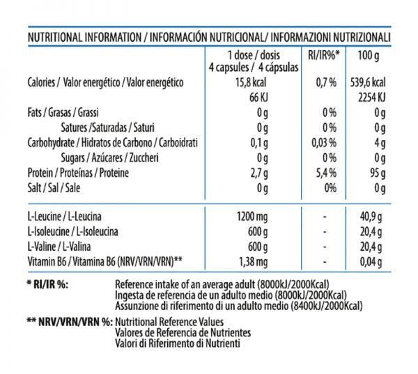 Información Nutricional BCAA 2400