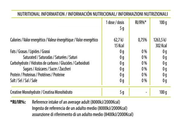 Información Nutricional Creatine Micronized