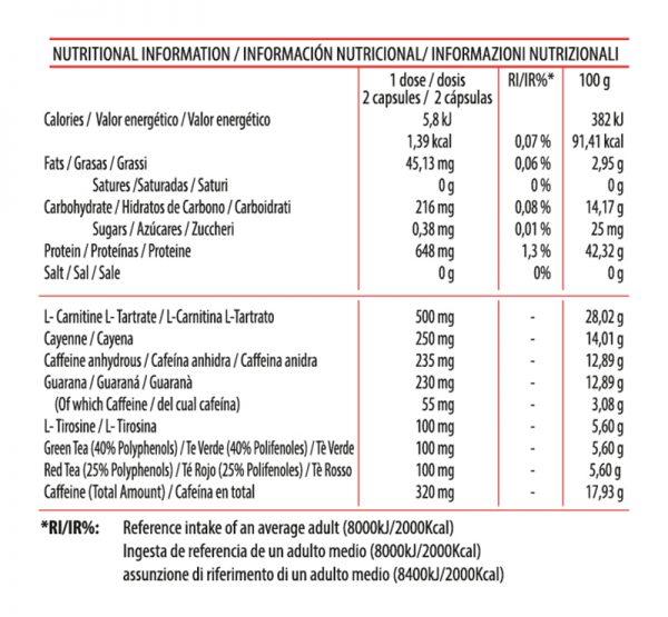 Información Nutricional Extreme Burn Termogénico