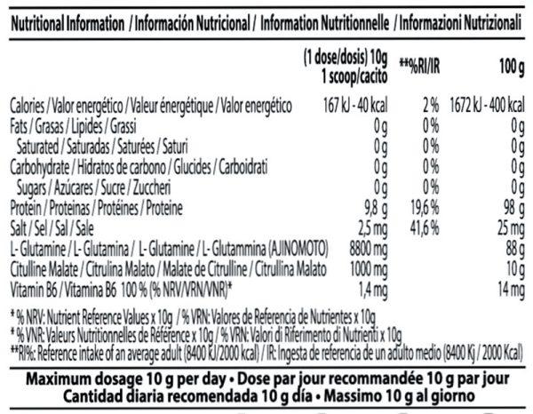 Información Nutricional Nutricionales-Glutamine-EVO