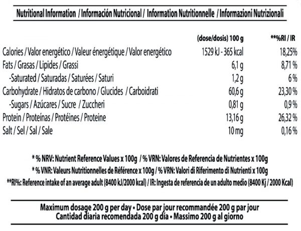 Información Nutricional Nutri Oatmeal Instant Harina de Avena Micronizada